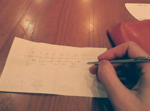無印良品の極小ボールペンで書いてるとこ
