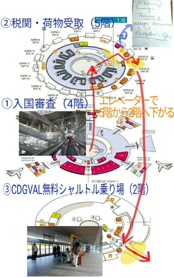 シャルルドゴール空港の内部地図