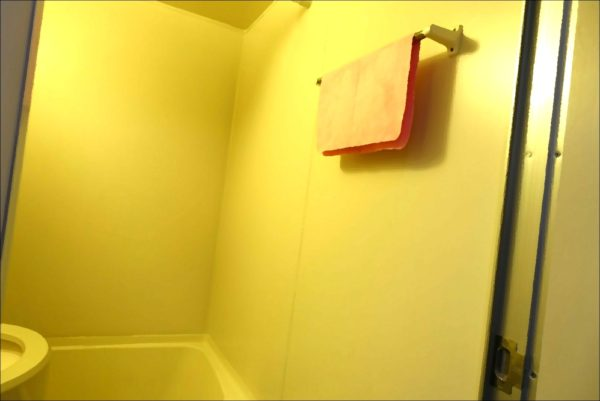 キャンドゥの洗車用ふきあげクロスをユニットバス内のタオル掛けにかけた