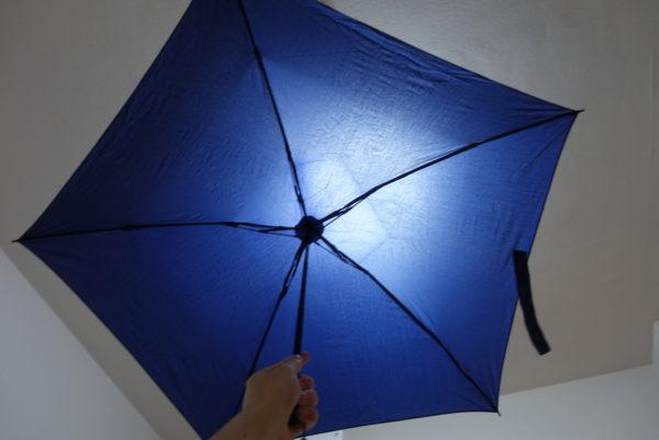 最軽量の折り畳み傘を広げた裏側