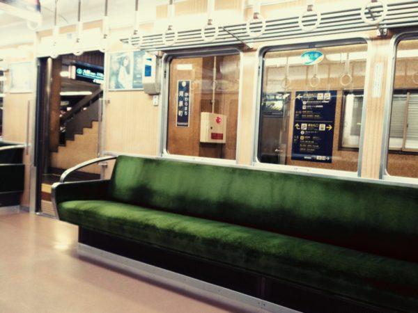 京都の電車の中