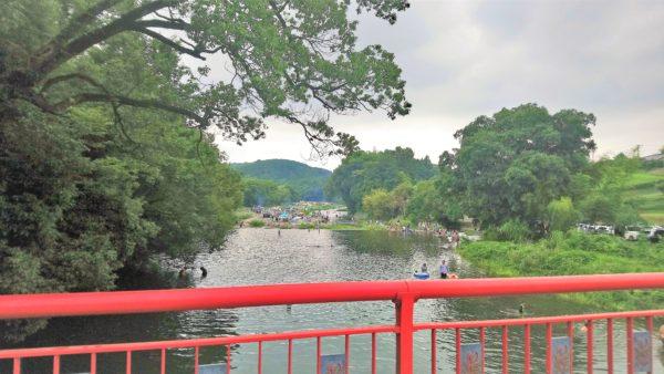 高麗川の巾着田を橋から眺めた