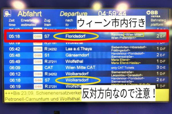 ウィーン国際空港からSバーン(電車)でウィーン市内へ電車の時刻表で方面を確認する