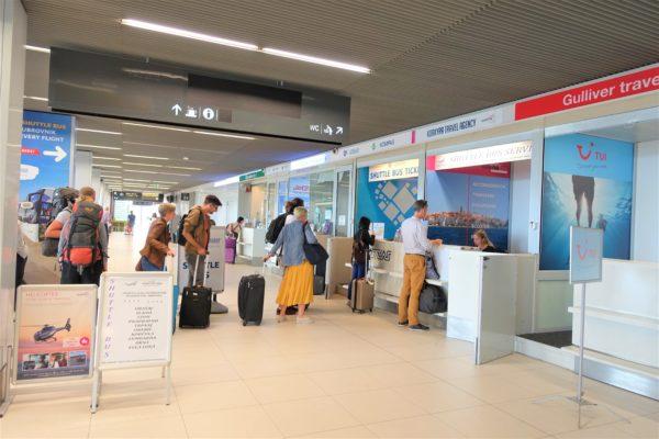 ドブロブニク空港の到着フロアマップにあるアトラス社の空港シャトルバスのチケットカウンター