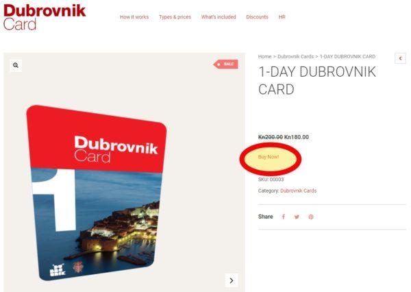 Dubrovnik Card(ドブロブニクカード)1日券の購入サイト
