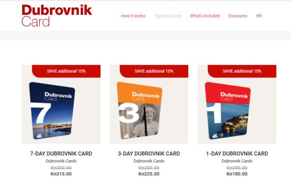 Dubrovnik Card(ドブロブニクカード)は3種類あり