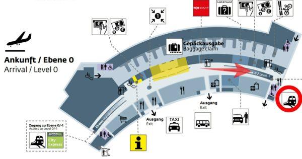 ウィーン国際空港の到着フロアからSバーン(電車)のホーム入り口までのマップ