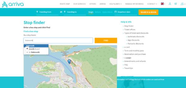 Arrivaの高速バスのバス停の場所を検索