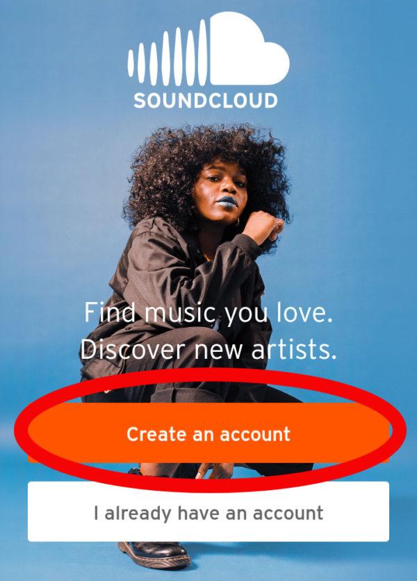 SoundCloudの設定でアカウントをつくる