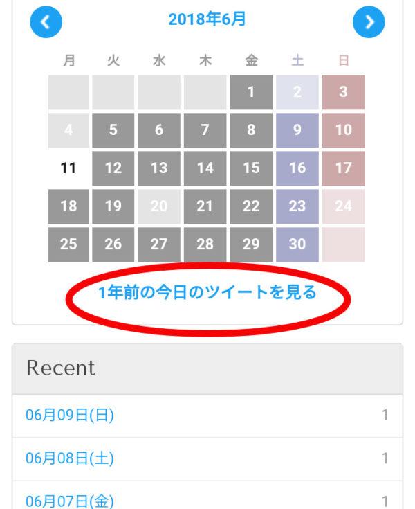 ツイログのカレンダーで「一年前の今日のツイートをみる」