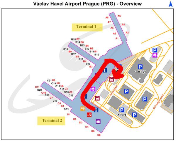 プラハ国際空港のマップでエアポート・エクスプレスのバス停の場所を確認
