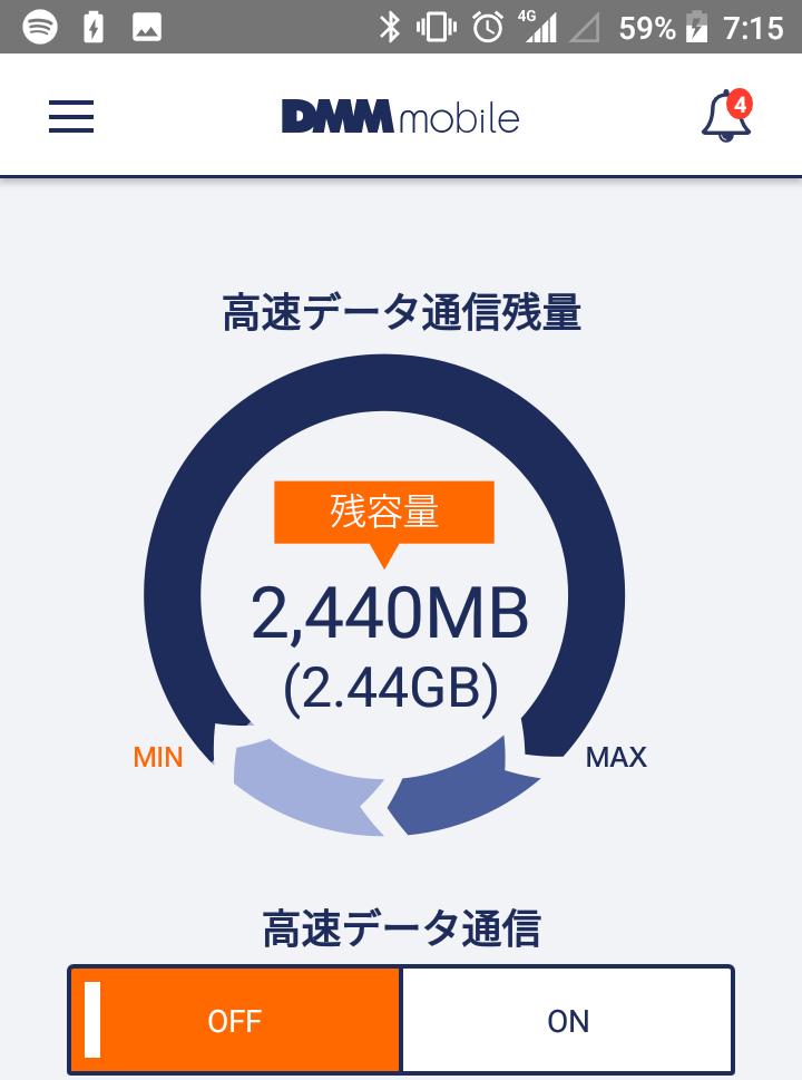 DMMモバイルの低速モードで音楽ストリーミングサービスのを使った場合の高速データ通信残量