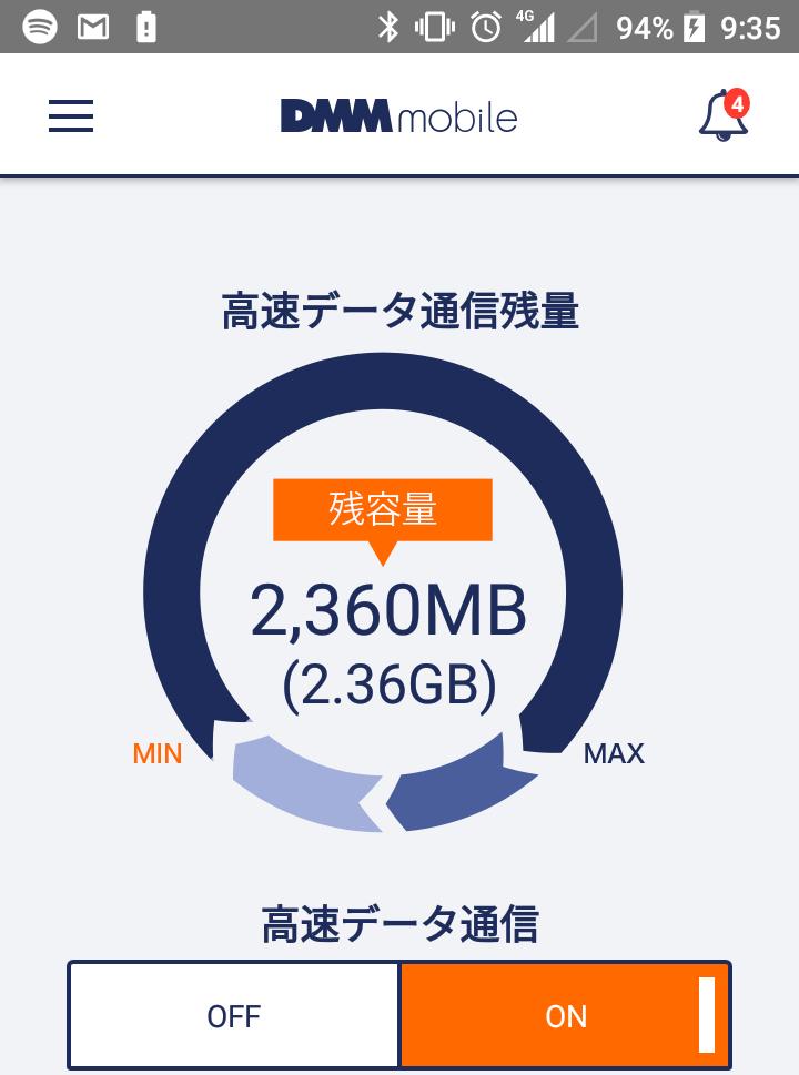 DMMモバイルの高速モードで音楽ストリーミングサービスのSpotifyを使った場合の高速データ通信残量