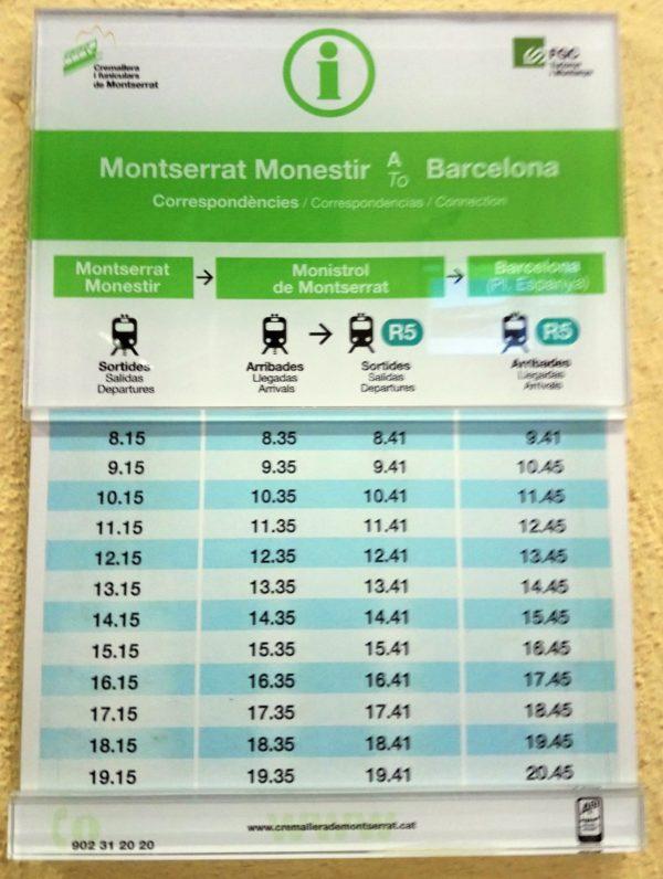 モンセラット駅からバルセロナへ向かう登山鉄道とR5の時刻表