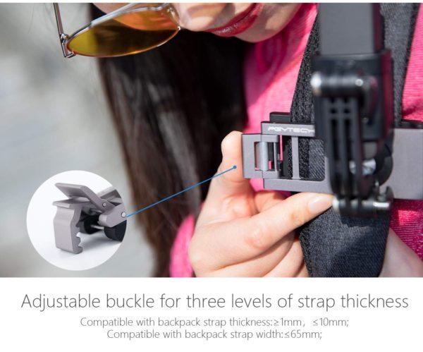 Osmo PocketのPGYTECH製のクリップマウントは3段階にはさむ強さを変えられる