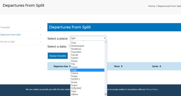 スプリット高速バスターミナルのサイトに時刻表検索