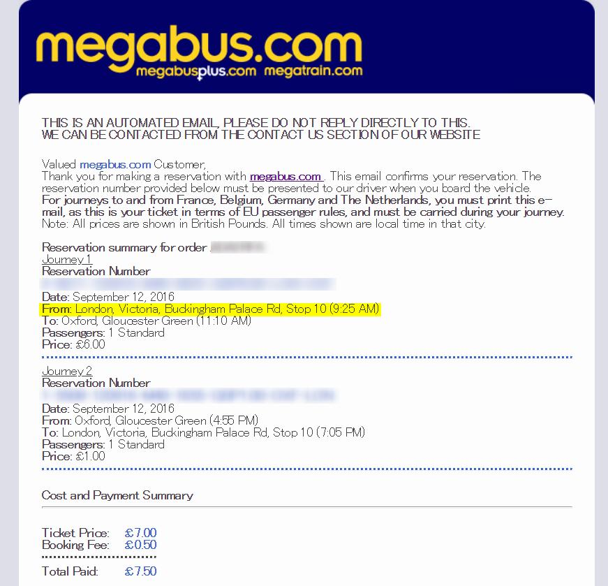 megabus(メガバス)から指定したEmailにバス予約情報が届く