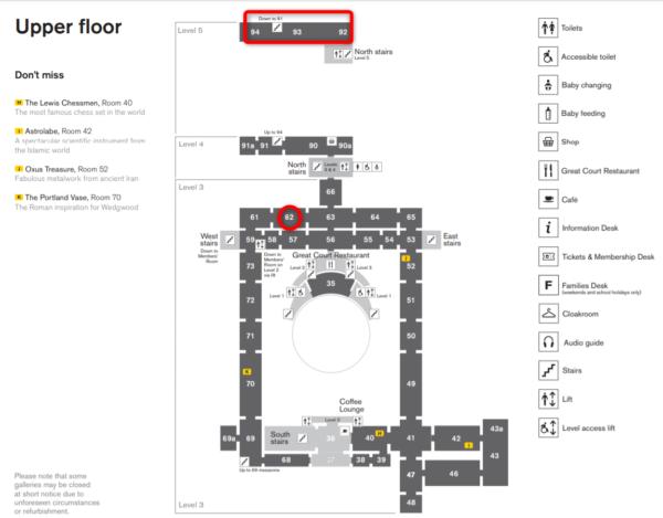 大英博物館の上階(Upper floor)のフロアマップ