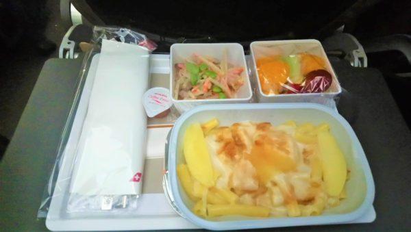 スイス航空の朝食の機内食