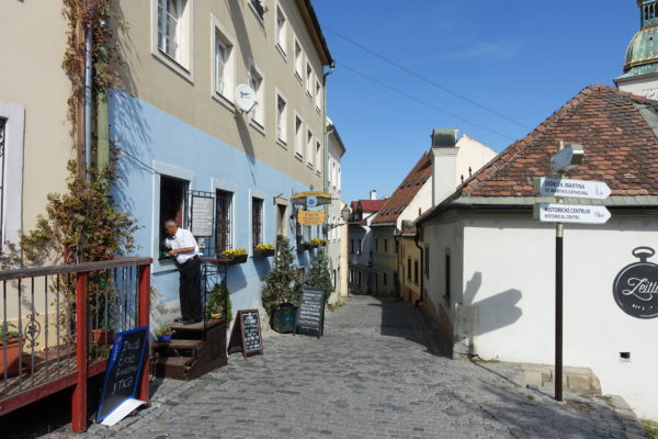 ブラチスラバ城の城下町のレストラン