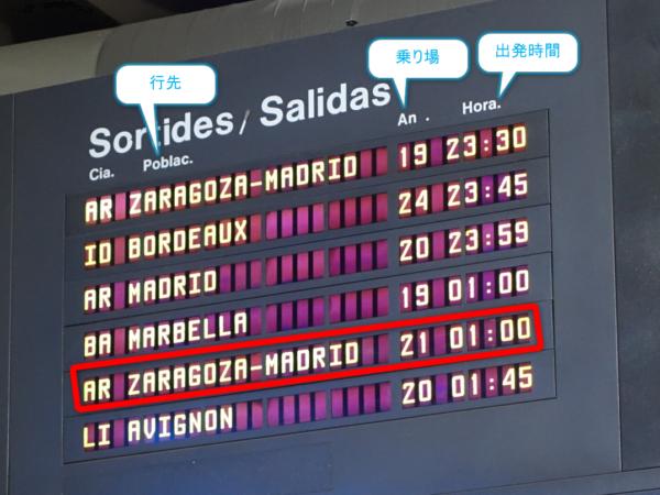 Barcelona Nord(バルセロナ北)バスターミナルの電光掲示板で乗り場を確認