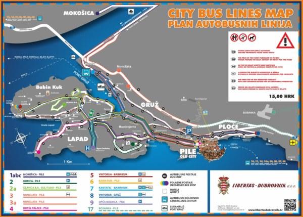 ドブロブニクのバスのラインマップ