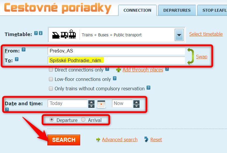 スピシュ城までのバス検索方法