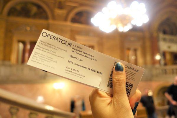 ブダペストの国立歌劇場の見学ツアーのチケット