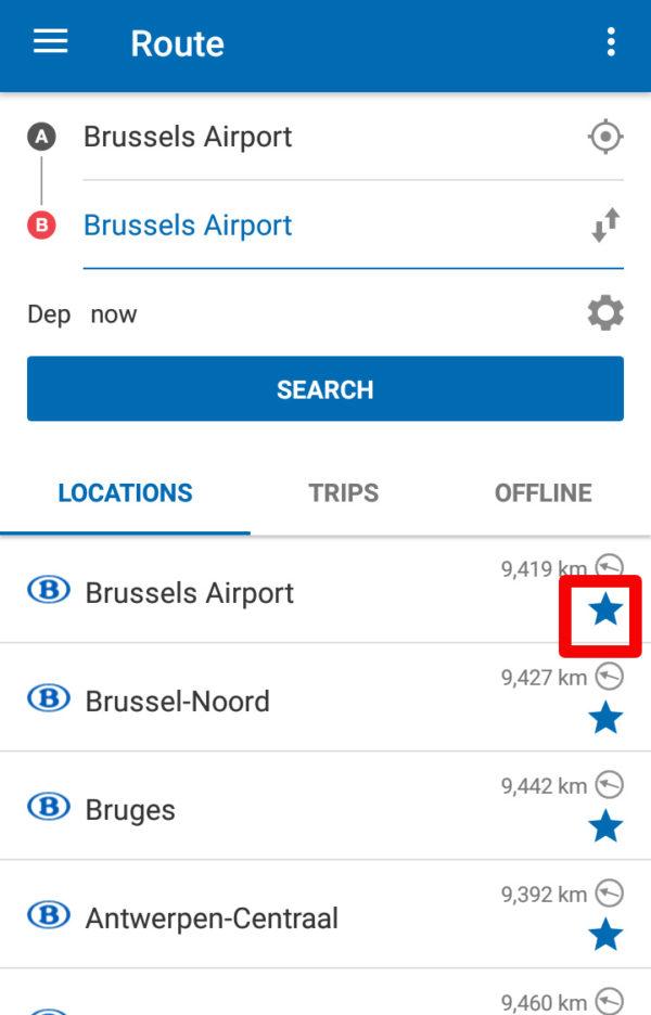ベルギーの電車乗換アプリで駅や乗換のお気に入り登録ができる