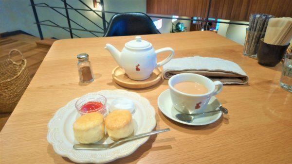 草津カフェのティールームゆきうさぎの特製ミルクティーとスコーン