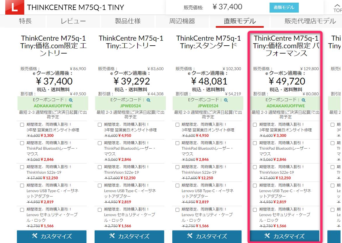価格.com限定ThinkCentre M75q-1 Tinyパフォーマンス