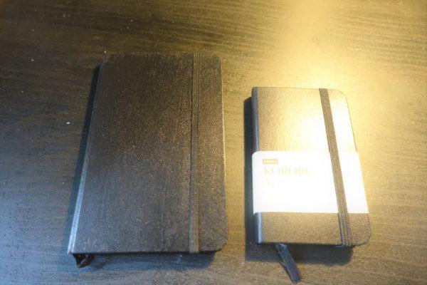 モレスキン風A7サイズのノートKORORUのサイズ
