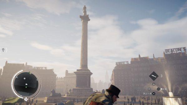 PS4アサシンクリード シンジケートのロンドン観光名所のネルソン記念柱のキャプチャー