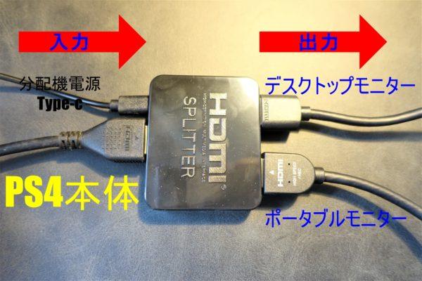 寝ながらPS4をプレイするためにHDMI分配器に接続する